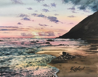 Sunset on the Beach - Original watercolor painting