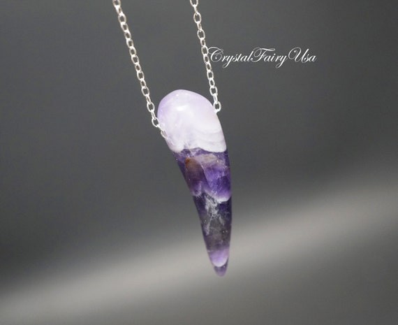 chevron amethyst necklace sterling silver wolf tooth