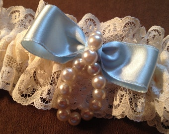 Ivory Vintage Lace Garter with Pale Blue Satin Bow and Pearl Detail