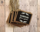 """Sale - 12 """"handmade for you"""" Chalkboard gift tags.  Black, Kraft, & white small labels with jute twine. Craft / shop supplies, Easter"""