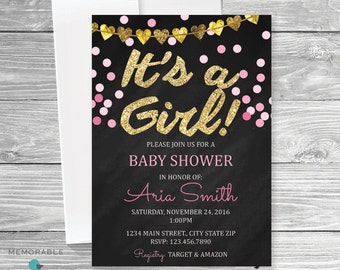 Pink Gold Baby Shower Invitation - Baby Shower Invitations - Shower Invitations - Baby Shower - Printable Invitations - Baby Shower
