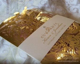 Gold foil wedding invitation Laser cut Wedding card 50 LASERCUT invitations. Lace gold wedding invites Luxury metallic sparkly wedding cards