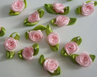 pink Satin Ribbon Flower Appliques -36pcs