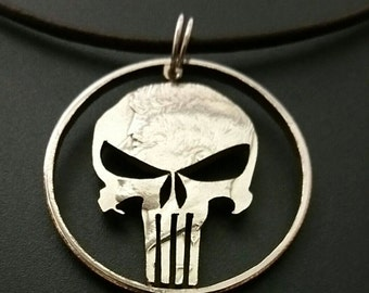 Punisher skull cut from a Kennedy half dollar coin jewelry