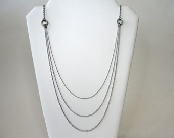 Multi Strand Layered Stainless Steel Chain Necklace, Stainless Steel Hex Nuts, Long Multi Strand Chain, Layered Chain Necklace Jewelry