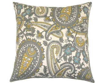Gray and Yellow Pillow, 20x20 Pillow Cover, Designer Throw Pillow, Decorative Pillows, Modern Paisley Pillow Sofa Pillow, Summerland Natural