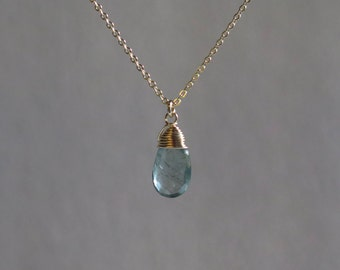 Aquamarine Necklace - March Birthstone - Gold Filled