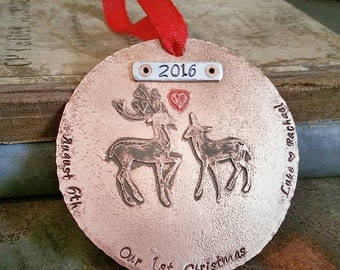 Our First Christmas Ornament Married - Personalized Christmas Ornament - Newlywed - Couples Christmas