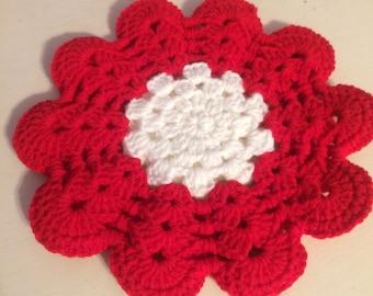 Vintage Red & White Flower Crochet Pot Holder Trivet
