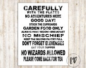 Hobbit House Rules Subway Art - Lord of the Rings - The Hobbit - White - 8x10 inches - SALE