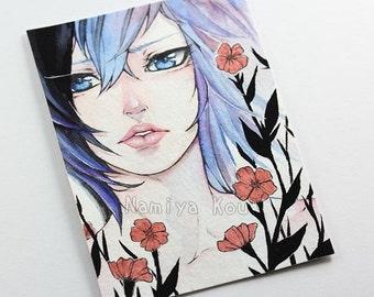 Original Watercolor ATC ACEO Stunning Aquarelle Artwork Manga Illustration