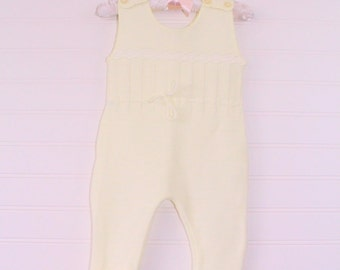 Vintage baby knit outfit, yellow knit with detailing and tie at waist , no name size about 3-6 months