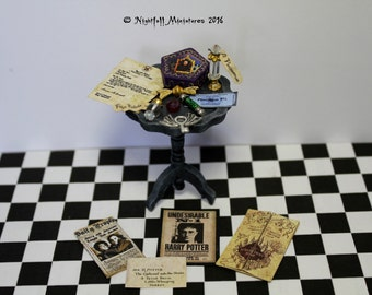 Dollhouse Miniature Magic Fantasy Harry Potter Inspired distressed table  in 1:12 scale
