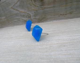 Square stud earrings Stainless steel posts, Geometric studs, Blue studs