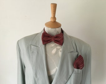 silk bow tie matching pocket square