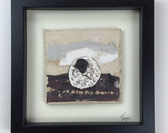 Framed Unglazed Ceramic Landscape with Connemara Sheep