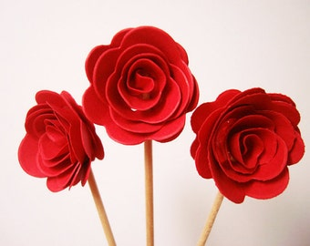 Set of 24Pcs - Red 3D 'ROSE ' Party Picks, Cupcake Toppers, Toothpicks, Food Picks