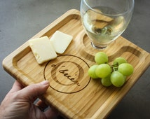 2 Personalized Bamboo Party Trays, Custom Engraved Wine and Hors d'oeuvres Trays, Personalized Cheese Platter, Custom Party Platter