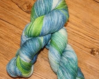 "Superwash Hand Dyed Sock Yarn:  ""Sea Glass"""