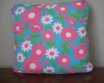 Retro Flower Power Fabric Cushion