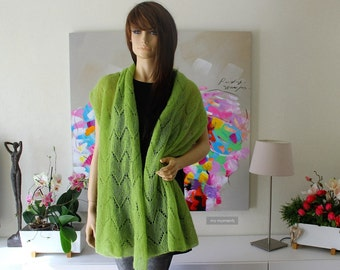 SCARF / SHAWL, Kid Mohair, apple green