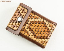 Leather cigarette case rattlesnake brown handcrafted