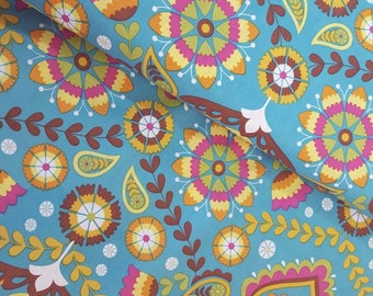 Colorful floral cotton - 0.5 m - by the metre