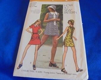 11/12 OR 13/14 SIMPLICITy 9881 SEWINg PATTERn MINIDRESs MOd VINTAGe 1970s BOHO How to Sew Pattern