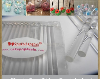 "100pcs 6"" (15cm) Crystal Clear Lollipop Sticks For Cake Pops or Lollipop Candy - Solid acrylic"