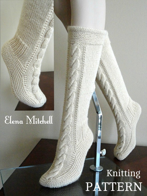 Knitting Pattern For Sandal Socks : Knitting PATTERN Socks Leg Warmers Women Slippers PATTERN Home Shoes Adults B...
