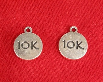 """5pc """"10k"""" charms in antique silver style (BC923)"""