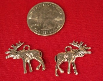 "10pc ""deer"" charms in antique silver style (BC1002)"