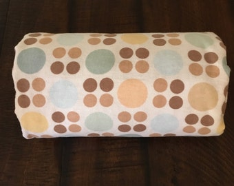 Brown and blue dots minky stroller blanket