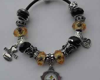 Bracelet, European charm bead bracelet, charm bracelet, large hole bead, NFL, Steeler's, beaded bracelet, football, team jewelry,