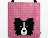 Border collie tote bag pink bag dog bag dog lover dog portrait pet totes printed dog bag modern tote bag pet gift idea unique design