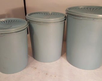 Vintage Tupperware 3 Canister Set with Lids Dusty Blue