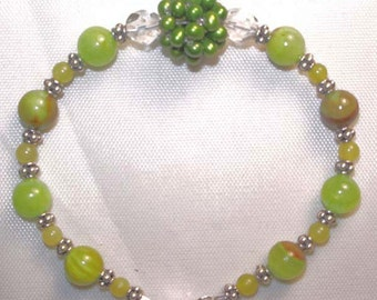 7=1/2 inch Bracelet with Sterling Silver Lobster, Bali Silver and Afghanistan Jade, Green FW Pearl and Swarovski Crystals