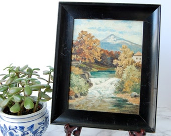 Antique Landscape Painting River Mountain - Framed Oil Painting on Board - Signed Original Art P. Neumann