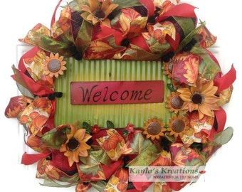 Fall Wreath Deco Mesh, Welcome Fall Wreath, Fall Sunflower Wreath, Moss Green Wreath, Pumpkin Ribbon Wreath, Autumn Ribbon Wreath, Fall Gift