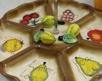 Vintage Tidbit Appetizer Tray Divided Serving Tray Relish Dish Fruit Platter Summer Entertaining