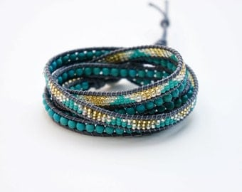 Turquoise Wrap Bracelet with seed bead