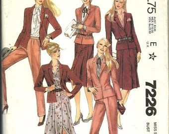 On Sale McCall's  7226  Misses Jacket, Skirt and Pants   size 12  uncut