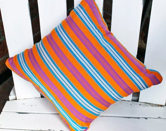 Coral Reef Stripe Ethical Hand Woven Fabric Eco Cushion Cover Resort Style