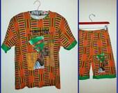 90s Beautiful Black Woman Kente Cloth T Shirt Size Large Outfit