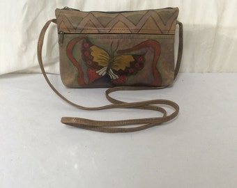 Painted Leather purse,bag,butterfly, painted leather, purses ,butterflies, shoulder bag