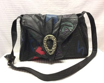 Black Faux Leather purse,Bag, 1980s, 80s, Shoulder Bag