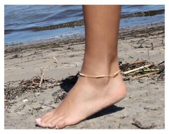anklet bracelet • gold bead anklet bracelet • anklet bracelet • gold or silver anklet • simple anklet • beaucoupdebeads • B003
