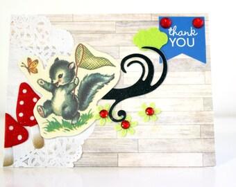 THANK YOU CARD - Unique Handmade Card - Cute Handmade Card - Retro Card, Greeting Card, Thanks Card, Blank Card, Greetings Card, ooak Card
