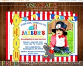 ON SALE NOW Circus/ Big Top Printable Photo Invitation: Diy Printing Digital File Free Thank You Card and Backside with Purchase!