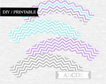 Instant Download Lilac, Light Aqua Cupcake wrappers Baby Shower Birthday Party DIY Printable (PDCH009)